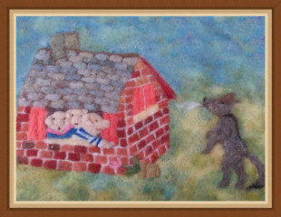 3 pigs with frame